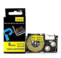 カシオ ネームランド用 互換 テープカートリッジ 6mm XR-6YW 黄地黒文字