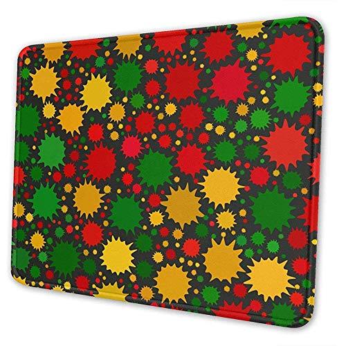 Rote, gelbe, grüne Reggae-Farben Helle Farbflecken auf schwarzem, besonders angefertigtem Rechteck Rutschfestes Gummi-Mousepad Gaming-Mauspad 25 x 30 cm