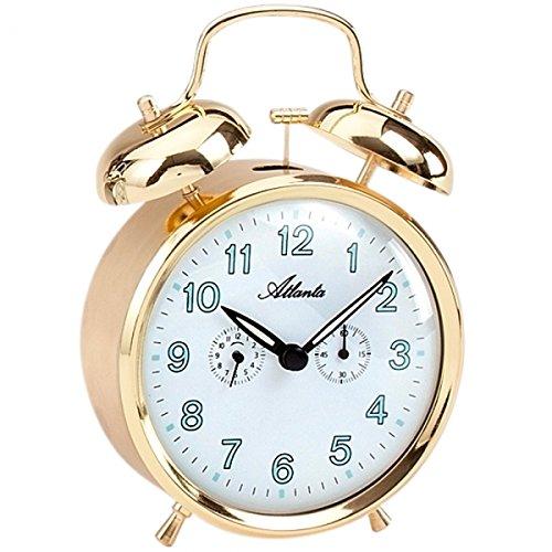Dubbele klok wekker mechanisch Tick Tack lichtgevende wijzers metalen behuizing goudkleurigAtlanta 1098-9