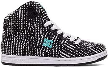 DC Women's Pure HIGH-TOP TX SE Skate Shoe, Charcoal/White, 5 Medium US