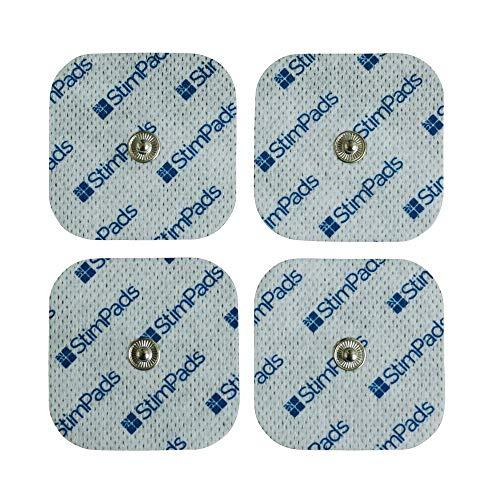 StimPads, 50X50mm, confezione da 4 pezzi ad alte prestazioni, elettrodi TENS - EMS a lunga durata con attacco universale a bottone da 3.5mm
