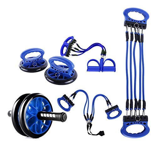 Chunlan Fitness Kraftstationen, Multi-Functional Fitness Kombination Fügen Ab Roller Rad, Push-Up Unterstützung, Widerstand-Bänder Pedal Zugseil Gewichte Bar mit Gewichten MEI