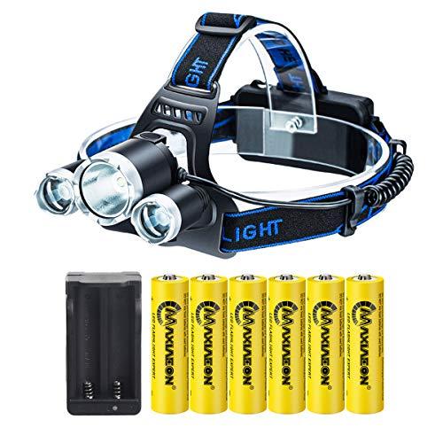 Linterna frontal LED,Con 6PCS Alta capacidad Recargable 3.7V 18650 Batería + Cargador USB, Impermeable, 4 Modos, Adecuada para Campamentos, Caminatas y Actividades al Aire Libre ⭐