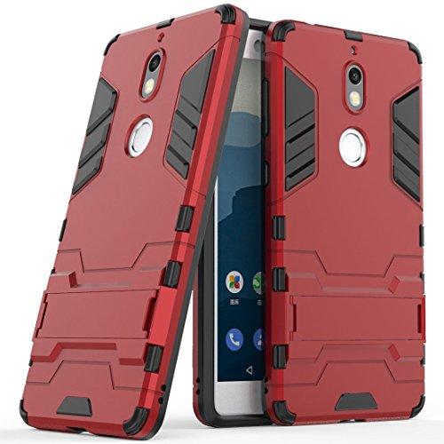 Funda para Nokia 7 (5,2 Pulgadas) 2 en 1 Híbrida Rugged Armor Case Choque Absorción Protección Dual Layer Bumper Carcasa con pata de Cabra (Rojo)