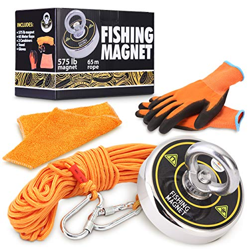 575 LB Fishing Magnet Set Powerful Neodymium Magnet Fishing Magnets with 20 Meter (65ft) Rope 2 Carabiners a Towel and PreThread Locked for Deep Sea Salvage Treasure Hunting