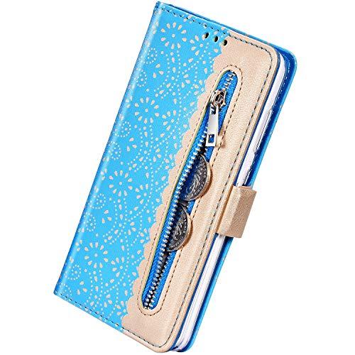 Herbests Kompatibel mit Huawei P20 Lite Handy Hülle Blumen Muster Multifunktionale Reißverschluss Leder Hülle Standfunktion Stoßfest Schutzhülle Klapphülle Kartenfach Magnet,Blau