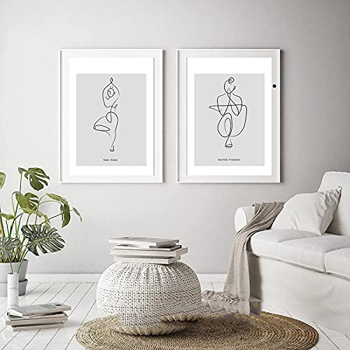 RuiChuangKeJi Impresiones para paredes 2 piezas 19.7x27.6in (50x70cm) No Frame Abstracto Lienzo Wall Art Yoga Poster Black White Line Art Mujer Cuerpo Wall Art Pintura Minimalista Wall Mural
