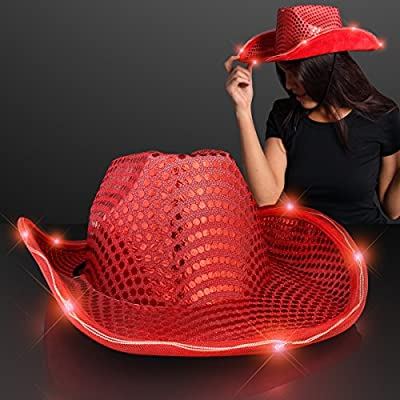 FlashingBlinkyLights Red Sequin Light Up LED Cowboy Hat with Red LED Brim