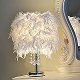 XDLUK 1pc Lámpara de Mesa Plumas Creativo Lámpara de Noche Moderna Bola de Cristal Iluminación Decorativa Princesa Boda Habitación Infantil, Blanco