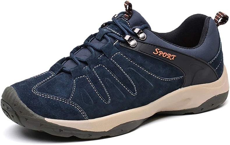 HANG Chaussures de randonnée en plein air pour hommes Chaussures de trekking en cuir imperméables Chaussures de randonnée à lacets confortables, légères et anti-dérapantes,bleu,42