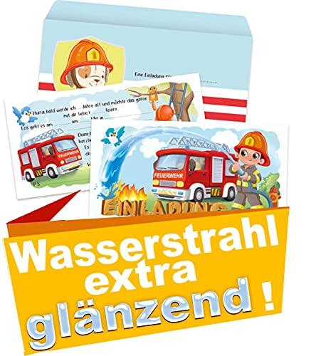Feuerwehr Einladungskarten Kindergeburtstag 8er Set (8 Einladungen + 8 Umschlägen) Motoparty Einladung (Set 1)