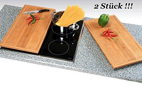 Neustanlo® 2 Stück Schneide- und Abdeckplatte Ceranfeldabdeckung Bambusholz Holz (50x28x4 cm Edition 1)