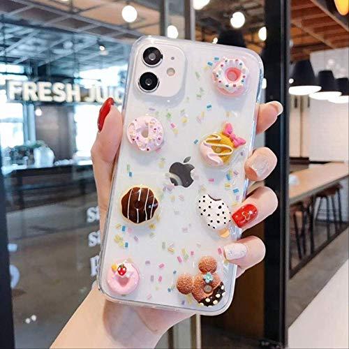 SSICA Dibujos Animados 3D Crystal Gummy Candy Color Ice Cream Unicorn Funda para teléfono para iPhone 11 X XS Pro MAX XR 7 8 Plus Corea Donuts Funda Suave para iPhone 11Promax 1