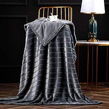Bertte Throw Blanket Super Soft Cozy Warm Blanket 330 GSM Lightweight Luxury Fleece Blanket for Bed Couch- 50 x 60  Dark Grey
