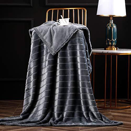 Bertte Throw Blanket Super Soft Cozy Warm Blanket 330 GSM Lightweight Luxury Fleece Blanket for Bed Couch- 50'x 60', Dark Grey