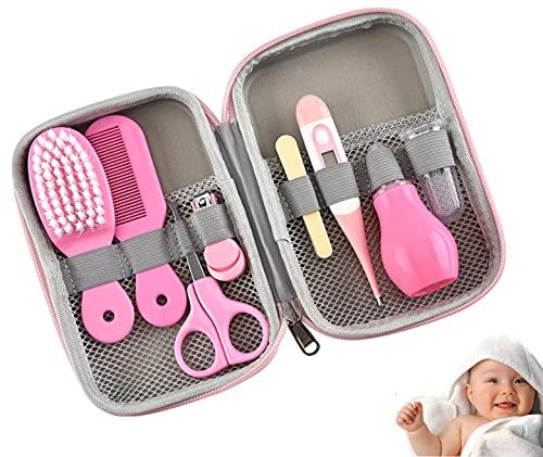 JasCherry Neugeborene Baby Pflegeset, 8-teilig Baby Erstausstattung Pflegeset, Baby Care Kit für Reisen & Heimgebrauch, mit Baby Kamm, Nasensauger, Nagelschere, Nagelknipser, Nagelfeil
