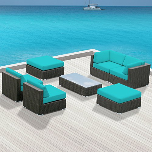 Hot Sale Outdoor Patio Furniture All Weather Wicker MALLINA II Modern Sofa Sectional 7pc Couch Set TURQUOISE