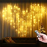 Qedertek Cortina de Luces con forma de Corazon, Guirnalda Luces Led Decorativas 2x1m 124 LED, luces de Navidad Blanco Calido, Cortina Luces LED para Decoración Boda