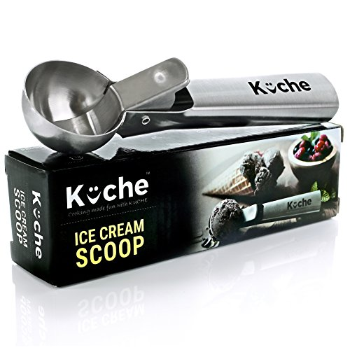 KUCHE Easy Trigger Stainless Steel Ice Cream Scoop,...