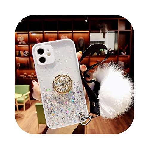 Carcasa transparente con purpurina degradada con bola de pelo para iPhone 12 Mini 11 12 Pro Max XS Max X XR 8 7 Plus soporte de anillo suave Bumper-White - para 7 Plus u 8 Plus