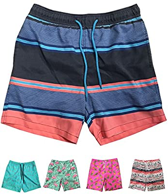 INGEAR Little Boys Quick Dry Beach Board Shorts Swim Trunk Swimsuit Beach Shorts with Mesh Lining (Multi Color Stripes, 2T)
