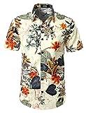JOGAL Men's Flower Casual Button Down Short Sleeve Hawaiian Shirt Meduim White