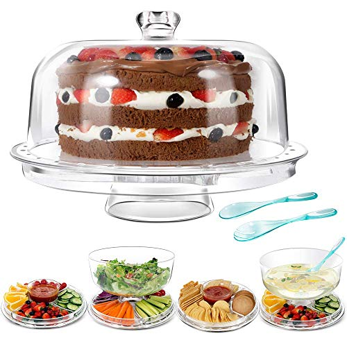 MASTERTOP 6 en 1 Soporte para Tartas - Multifuncional y Transparente (31,5 x 22,5 CM) , con Cubierta de Domo, Bandeja Pasteles y Ensaladas para Fiesta Picnic Barbacoa, con 2 Servidor de Fruta