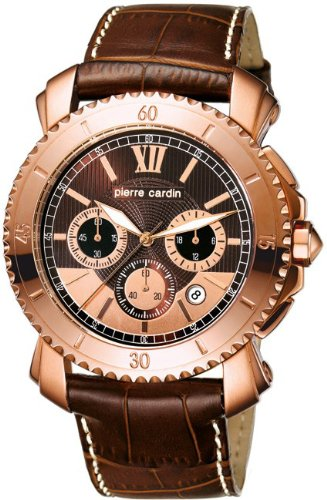 Pierre Cardin PC103601F01 - Reloj cronógrafo de caballero de cuarzo con correa de piel marrón (cronómetro) - sumergible a 30 metros