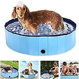Powcan Piscina Perros y Gatos Bañera Plegable PVC Antideslizante y Resistente al Desgaste Adecuado para Interior Exterior al Aire(80cm*20cm) (Azul)