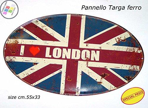 Panneau Plaque Tableau ovale métal vieilli cm.55 x 55 London