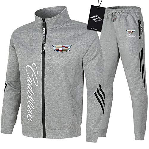 SPONYBORTY de Los Hombres Chandal Conjunto Trotar Traje Ca.Di-Llac Hooded Zipper Chaqueta + Pantalones Sudadera Baloncesto Ropa Gimnasio/gray/XL