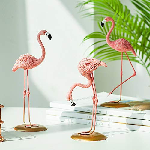 GAOBEI Resin Sculpture Figurine Statue Ornament Home Decoration Accessories Animal Flamingo Birds Statue for Living Room (Set of 3)