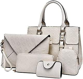 WTYD Single Shoulder Bag 5 in 1 Diamond Texture PU Shoulder Bag Printed Flower Ladies Handbag Messenger Bag (Black) (Color : White)
