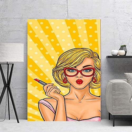 HXQQ Blonde Lippenstift wohnkultur Poster und drucke wandkunst leinwand Dekoration gemälde für Wohnzimmer Wand 60x80 cm mit gerahmten