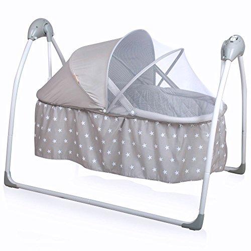 Baninni Gondola elektrische Babywiege Babyschaukel Babybett mit Schaukelfunktion, Musik, Naturgeräusche, Timer, inkl. Matratze (Grau)