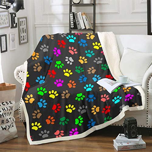 Loussiesd Manta de felpa con diseño de pata de perro, diseño de sherpa, manta de forro polar para sofá, cama, sofá, cama, patas, manta de felpa, 127 x 152 cm