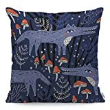 Wozukia Funny Wolfs Throw Pillow Cover in A Farytale Forest Mushroom Decor Purple Square Pillow Case Cushion Cover for Home Car Sofa Couch Porch Decorative Cotton Linen Pillowcases 18x18 Inch