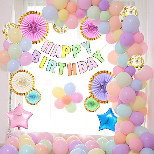 APERIL Macaron Balloons Party Decorations Latex Balloons Happy Birthday Garland Pastel Balloons for Birthday Party Decorations Wedding Baby Shower Backdrop Background Decorations for Girls Kids