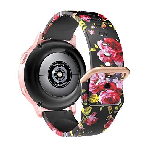 MoKo Cinturino di Ricambio Compatibile con Samsung Galaxy Watch 3 41mm/Galaxy Watch 42mm/Active/Active 2, Cinturino Anti-Perso per Smartwatches in Silicone Protettivo Sportivo Regolabile, Nero & Rosa