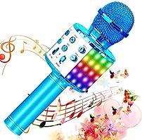 SunTop Micrófono Karaoke Bluetooth, Microfono Inalámbrico Karaoke, Portátil con Altavoz y Luces LED, Reproductor KTV...