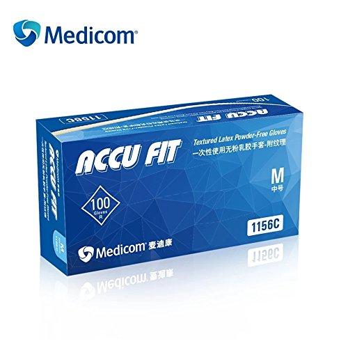 Medicom Accu Fit Disposable Latex Powder-Free Gloves,Size Medium