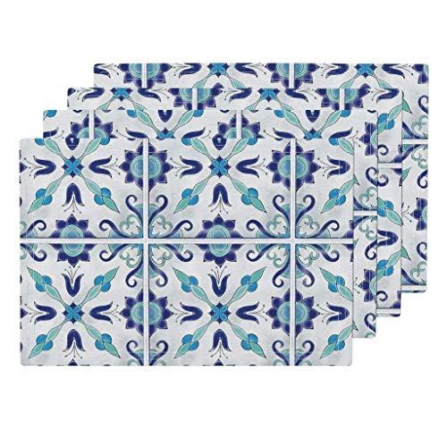 Traditionelle spanische Fliesen blau und weiß spanische Fliesen marokkanisch maurisch türkis Pool Backsplash von Juniperr waschbare Tischsets 4er-Set