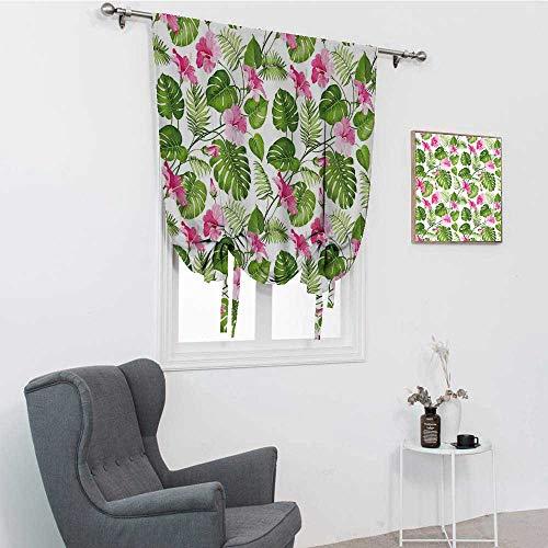 Cortinas decorativas con diseño de hojas de hibisco hawaiano con flores rosas con hojas de palmera para ventana, color rosa claro y verde oscuro, 48 pulgadas x 64 pulgadas
