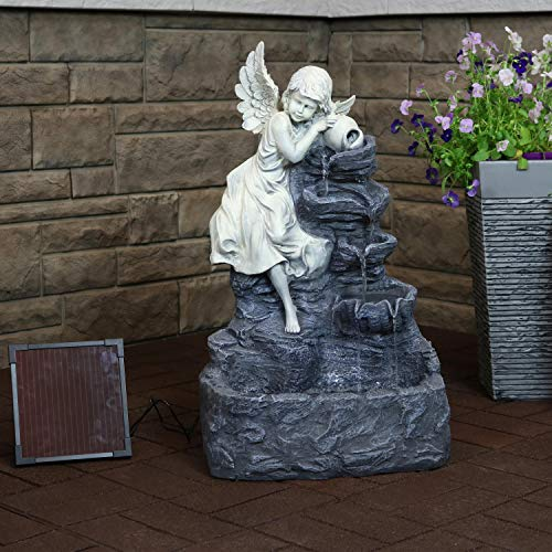 Sunnydaze Angel Falls Solar Water Fountain with Battery Backup and LED Light - Outdoor Garden and Patio Water Feature with Rechargeable Solar Battery - 29-Inch