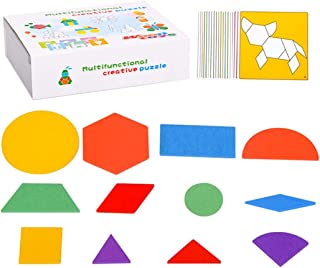Licogel Magnetic Pattern Block Set Wooden Funny Safe Nonslip Pattern Tangram Puzzle Block for Kid Smooth Portable Card