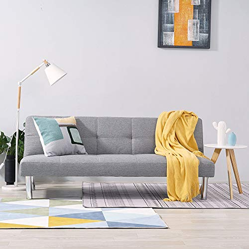 Panana 3 Seater Linen Fabric Sofa Bed Modern Lounge Couch Click Clack Recliner Chair Sleeper Settee for Living Room Gray