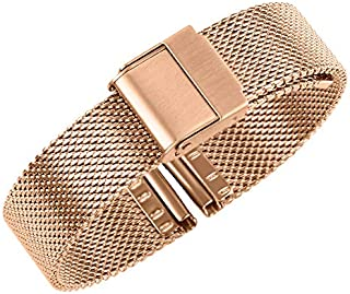 Luxury Mesh Watch Bands Safety Clasp Solid Stainless Steel Milanese Watch Strap Replacement for Men and Women 12mm Sliver