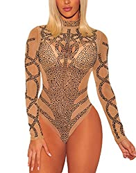 Rhinestone Sheer Khaki Long Sleeves Bodysuits Clubwear