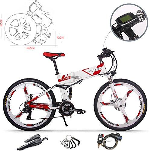 RICHBIT Elektrische Mountainbikes 26 Zoll faltbares Mountainbike 36V faltbares elektrisches Fahrrad mit 12,8 Ah LG Li Elektrofahrrad für Männer/Erwachsene