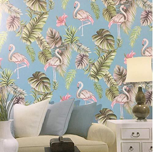 Papiertapete Blume und Vogel Flamingo Tropische Blätter Tapete Zimmer Schlafzimmer Tapete Wohnkultur, Pink, Blaugrün, Grün